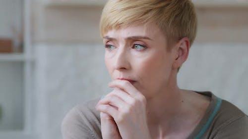 Headshot Closeup Sad Young Woman Having Psychological Problem Feeling Anxiety Depression