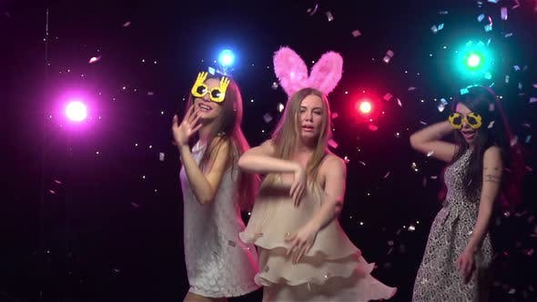 Thumbnail for Girls at Bachelorette Party Dancing and Having Fun. Slow Motion