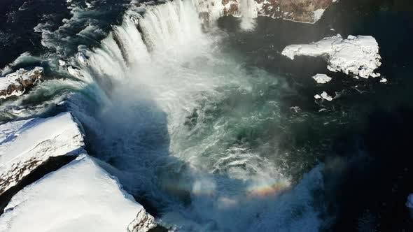 Thumbnail for Godafoss Waterfall on Skjalfandafljot River, Iceland. Aerial View.