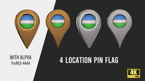 Uzbekistan Flag Location Pins Silver And Gold