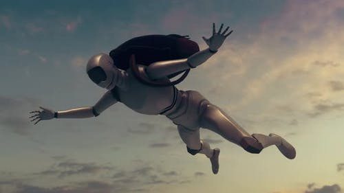 Robot Skydiving Or Falling In Sky 4k