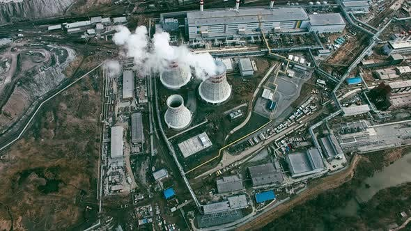 Thumbnail for Aerial of Power Station with Cooling Towers