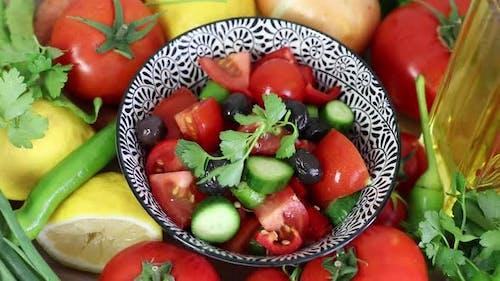Making Salad Diet Food Kitchen