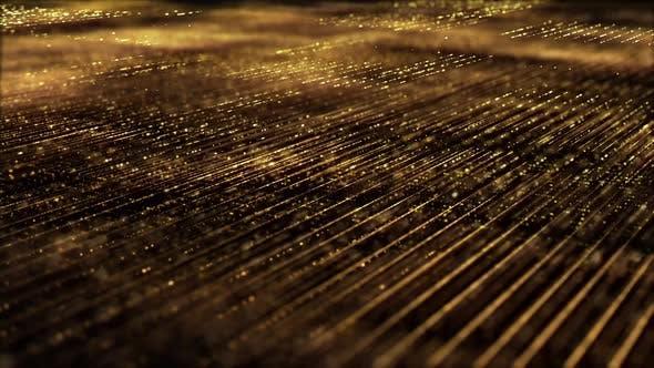 Thumbnail for Golden Matrix Grid Particles Background 02