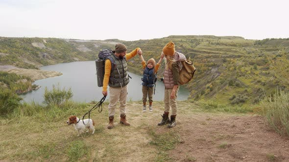 Happy Family on Hike