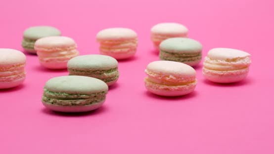Multiple Delicious Sweet Macaroons Dessert