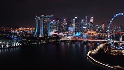 Hyperlapse time-lapse of Singapore cityscape view at Marina Bay at night. Singapore city landmark