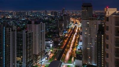 Bangkok traffic toward downtown in early morning - time lapse