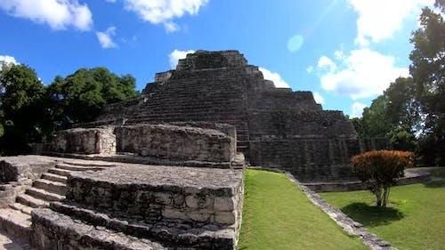 Chacchoben Mayan Ruins Temple 1 Pyramid. Costa Maya, Mahahual, Mexico.