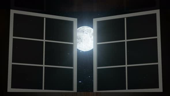 Cover Image for Night Sky and Moon Seen Through Opened Windows