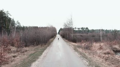 Cycling on empty road