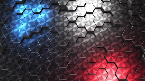 Animation of mettal hexagons. Animation of abstract hexagons