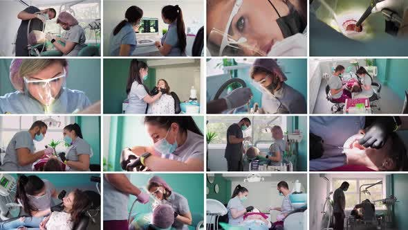 Collage of the Work Dentists in a Dental Clinic