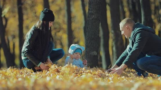 Happy Family Playing with Autumn Leaves in Park