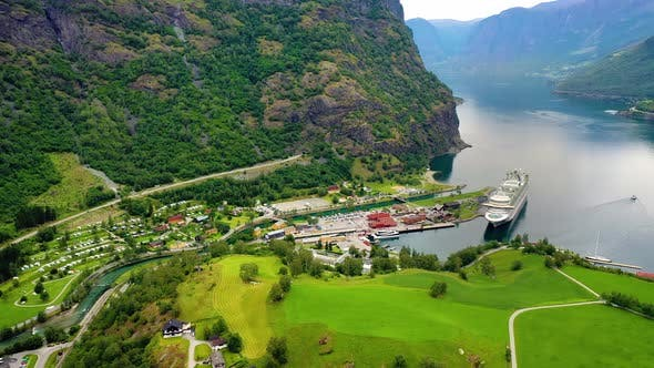 Thumbnail for Aurlandsfjord Town Of Flam at Dawn.