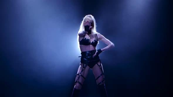 Thumbnail for Sexy Nightclub Dancer Blonde Girl in Black Leather Lingerie, Studio