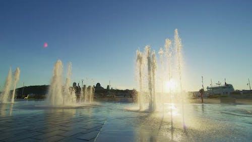 The water jets of Fontaine du Quai Paquet