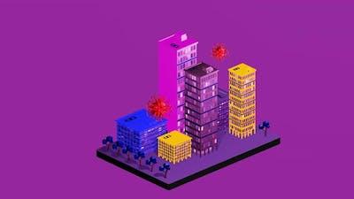 Isometric city infected with corona