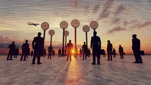 Business People Clocks Airport