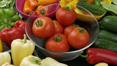 Big Set of Raw Vegetables for Making Tomato Sauce