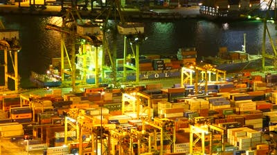 Time lapse of container cargo shipping port in Singapore