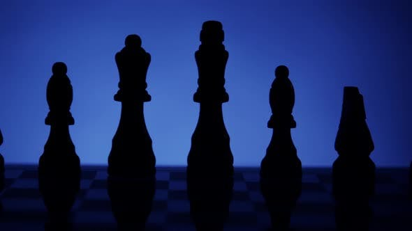 Thumbnail for Black Silhouette Of Chess Pieces On Blue 38