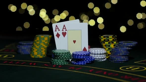 Thumbnail for Poker Gambling. Poker Chips and Two Aces. Close Up. Slow Motion
