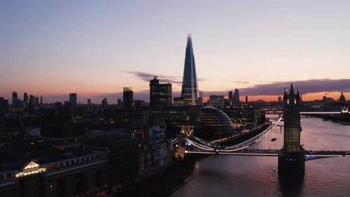 Evening Fly Above River Thames at Tower Bridge