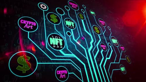 NFT Crypto Art symbols digital tree