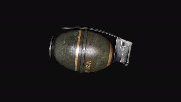 Hand grenade on black background