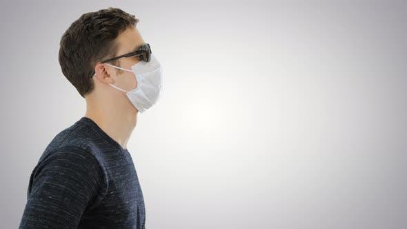 Thumbnail for Blind Man in Black Glasses Walking on Gradient Background