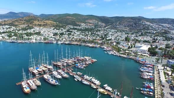 Bodrum's Marina in the Tourist Region of Anatolia Turkey in the Aegean Sea