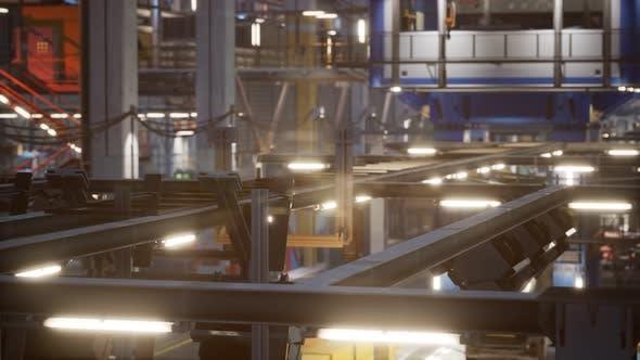 Thumbnail for Innenraum der Autofabrik mit einer Produktionslinie