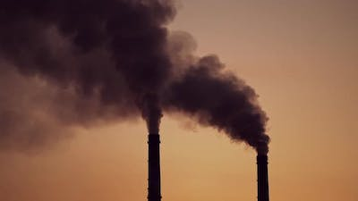 Smoking industrial pipes. Industrial smoke stack of coal power plant