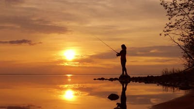 Woman Fishing on Fishing Rod Spinning