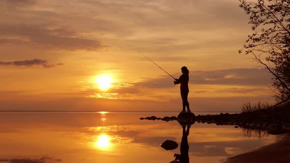 Thumbnail for Woman Fishing on Fishing Rod Spinning