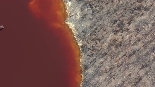 Thumbnail for Toxic red acidic mine drainage waters 4K aerial footage