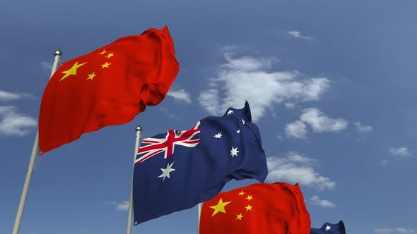Flags of Australia and China at International Meeting