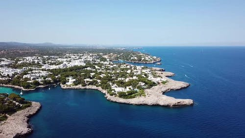 Aerial: Cala D'Or resort town in Mallorca, Spain