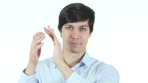 Thumbnail for Man Clapping , Applauding On White background