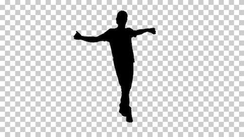 Silhouette guy dancing, Alpha Channel