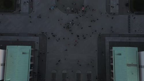 AERIAL: Slow Birds View Overhead Shot of Brandenburg Gate Roof with Quadriga Statue Close Up and