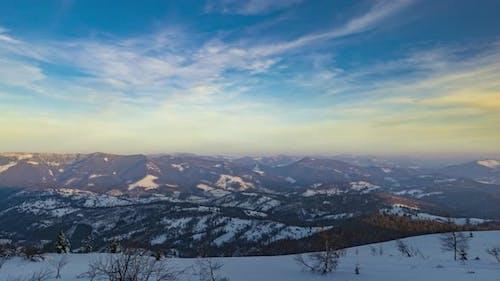 Sundown Winter Mountain Timelapse Video