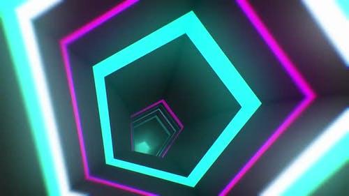 3d Neon pentagon tunnel