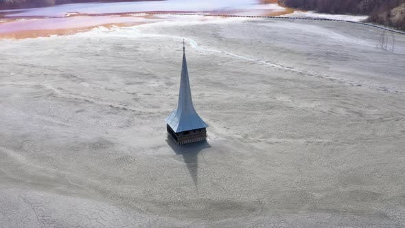 Thumbnail for Aerial View of Flooded Church in the Middle of a Lake