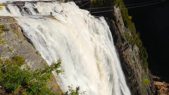 Thumbnail for Wide Angle Tilting Down The Montmorency Fall In Quebec To Reveal The Base