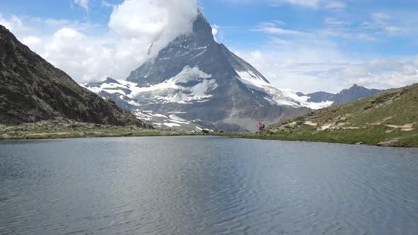 Scenic View on Snowy Matterhorn Peak and Lake Stellisee, Swiss Alps, Zermatt