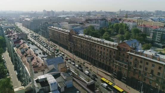 Thumbnail for Morning in Minsk, Belarus, City Traffic Central Street, Private and Business Buildings Cityscape