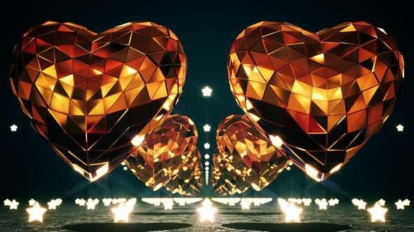 Goldene Disco Herzen und Sterne 4k