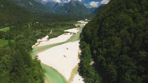 Drone Flight Over River In Julian Alps
